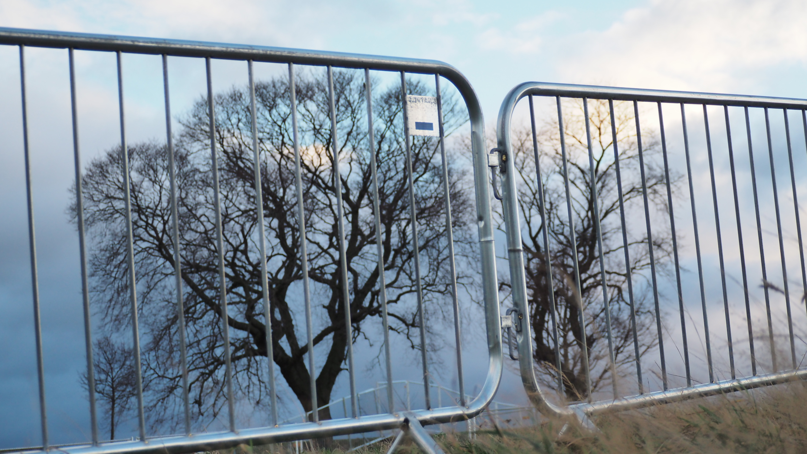 harris fencing barriers in front of trees calton hill Edinburgh Scotland